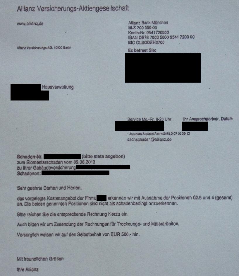 Regulierung Allianz Elementarschaden Juni 2013