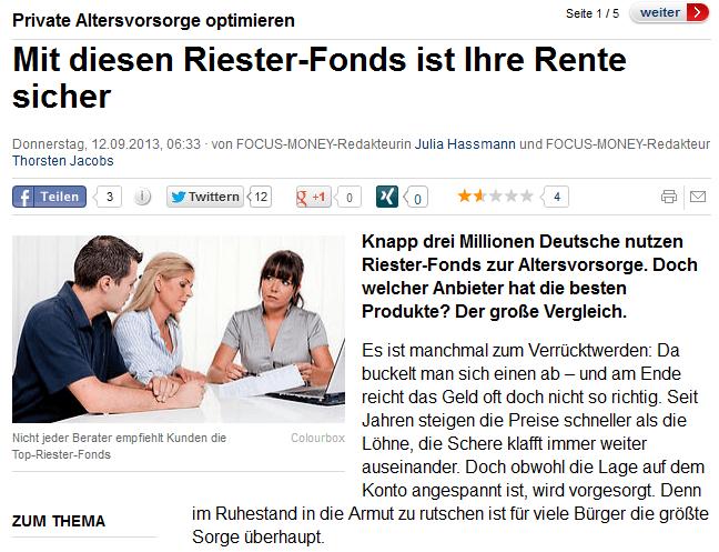 Riester-Fonds Focus-Money