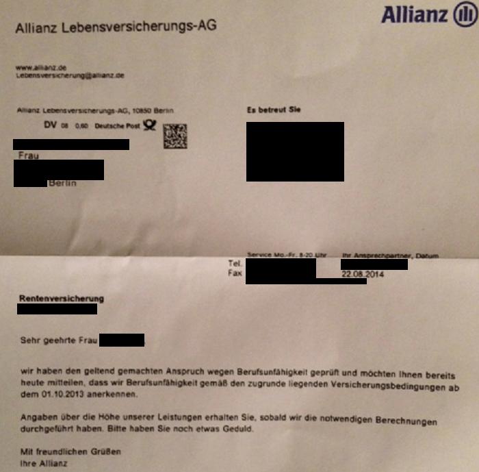 Anerkenntnis Allianz